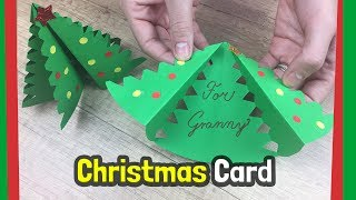 Christmas tree DIY gift card | Very easy to make with kids