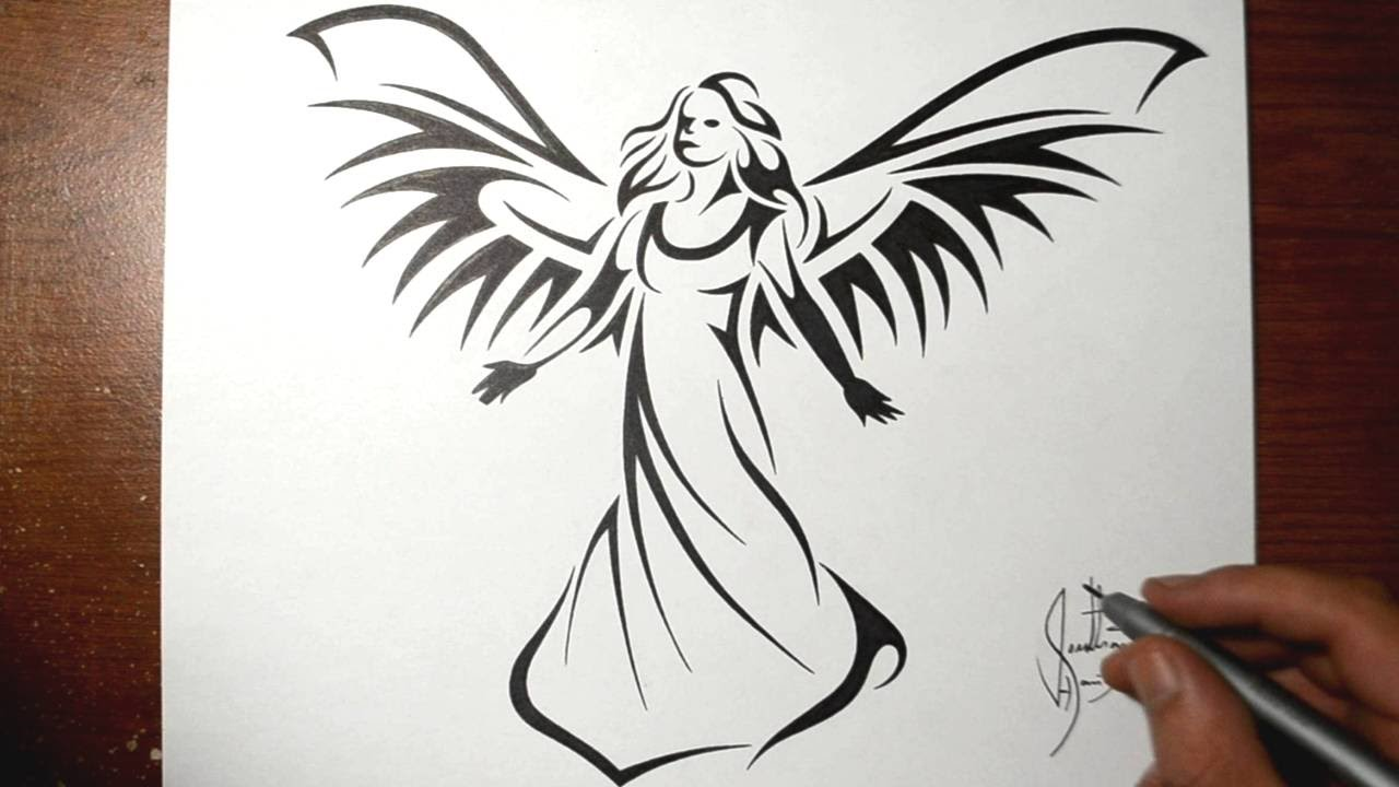 Uncategorized Easy To Draw Angels how to draw a beautiful angel tribal tattoo design style youtube