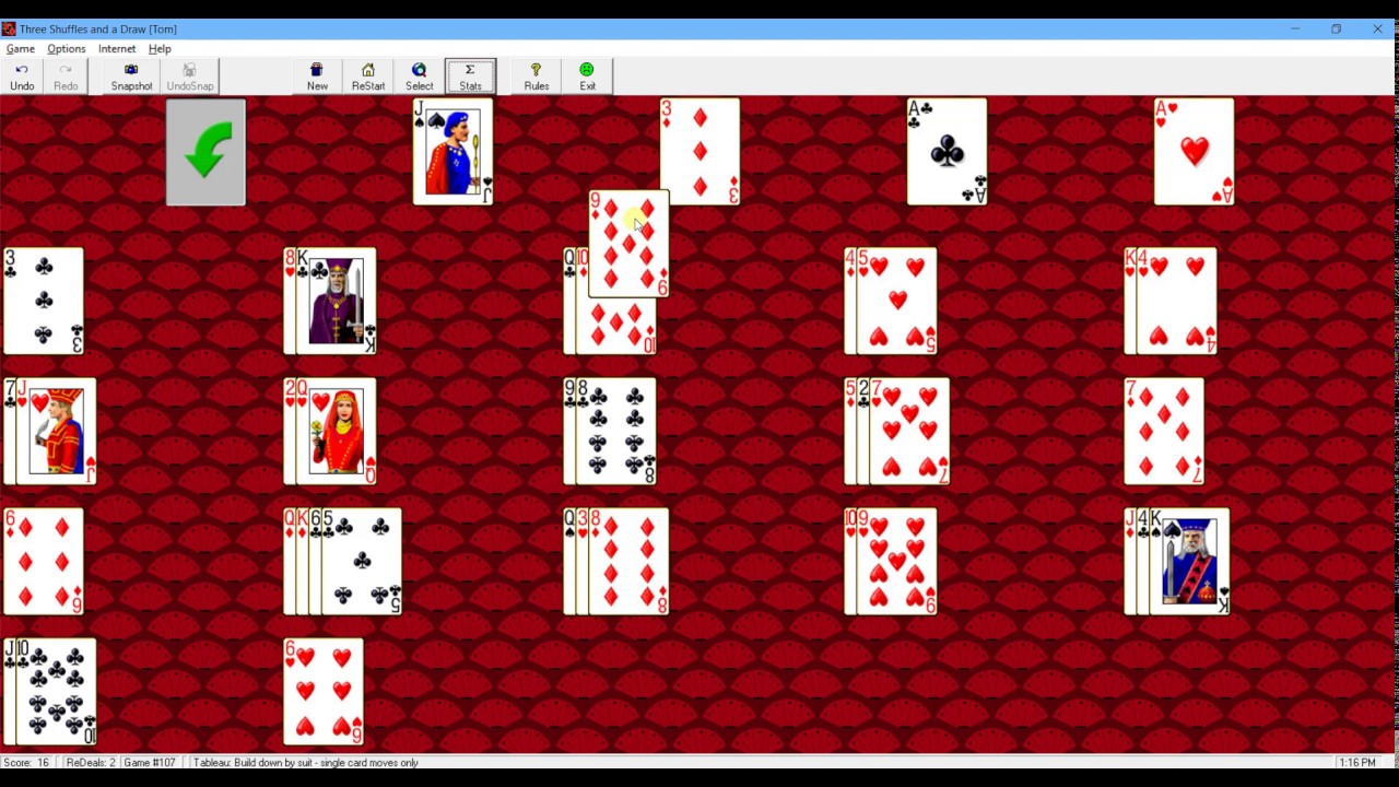 How to Play Three Shuffles and a Draw Solitaire