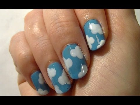 Little Fluffy Clouds Cute Nail Polish Art Youtube