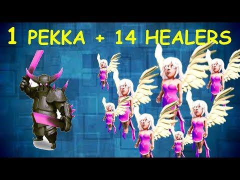 Clash of Clans - 1 PEKKA AND 14 HEALERS vs TH 7 RAID