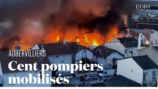 Les images de l'important incendie d'un entrepôt à Aubervilliers