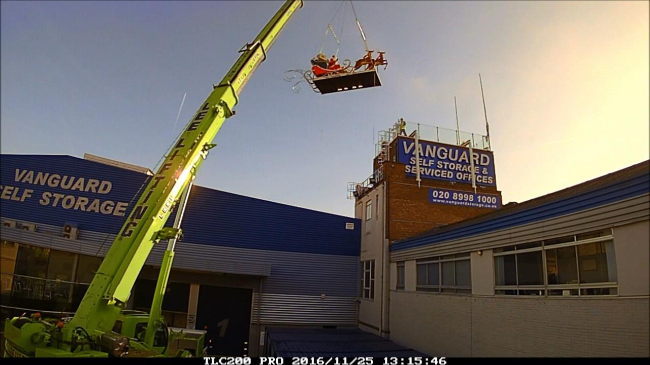 Good Santa Craned Onto The Roof At Vanguard Storage   Western Avenue