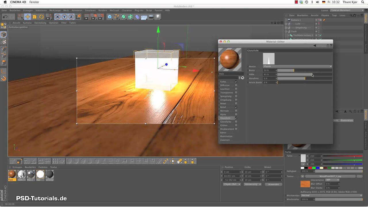 Parkett textur cinema 4d  CINEMA 4D Tutorial - Materialerstellung Holzboden - YouTube