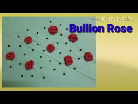 Bullion Rose Stitch video tutorial / How can do Bullion rose hand embroidery