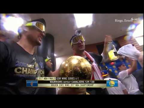 Warriors locker room championship celebration [2017 NBA Finals]