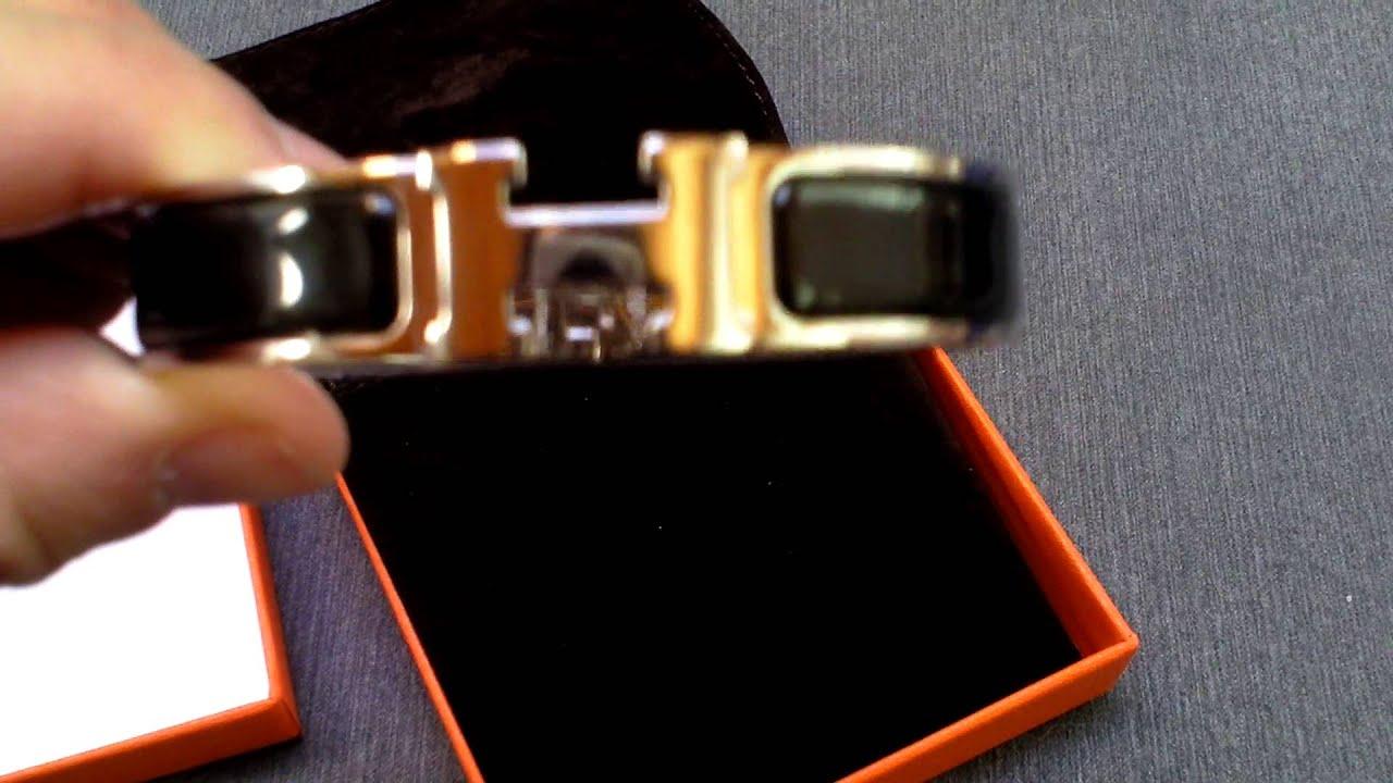 hermes h bracelet clic clac black gm youtube. Black Bedroom Furniture Sets. Home Design Ideas
