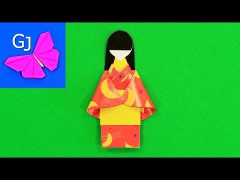 Кукла из бумаги оригами схема