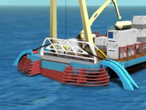 Offshore: cable arc from ship animation