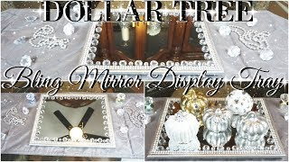 DIY DOLLAR TREE ROTATING MIRROR DISPLAY TRAY 💎 DOLLAR STORE BLING MIRROR TRAY 💎 GLAM HOME DECOR