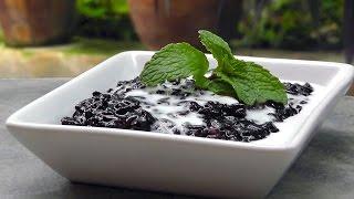 Indonesian Black Sticky Rice Pudding - Vegan Vegetarian Recipe