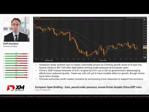 Forex News: 19/10/2018 - Euro, pound under pressure; aussie firmer despite China GDP miss