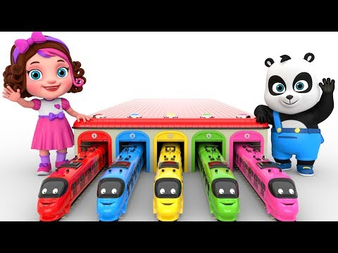 Learn Colors With Toy Trains  –  Pinky and Panda