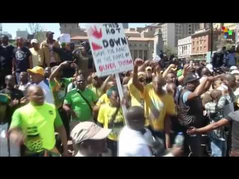 Anti-Zuma Protesters Demonstrate in Johannesburg