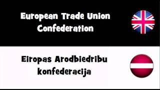 VOCABULARY IN 20 LANGUAGES = European Trade Union Confederation