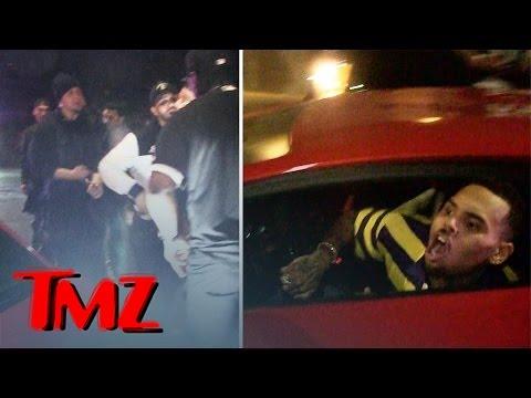 Chris Brown -- Crowd Swarms Lambo ... Ragin