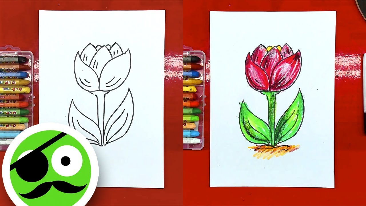 How to draw a flower tulip / Coloring pages - YouTube