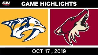 NHL Highlights | Predators vs Coyotes - Oct 17 2019