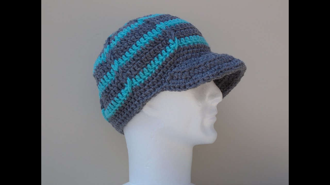 Knit Pattern Beanie With Brim : Hat Brim / Peak Crochet Tutorial - YouTube