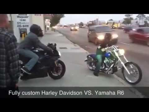 yamaha r6 vs custom harley davidson - youtube