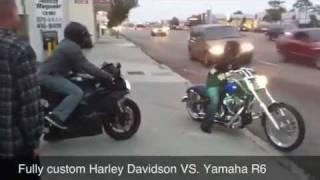 yamaha R6 vs custom Harley davidson