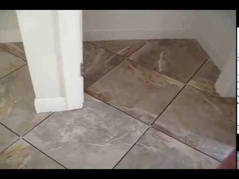 large format porcelain tile diagonal floor
