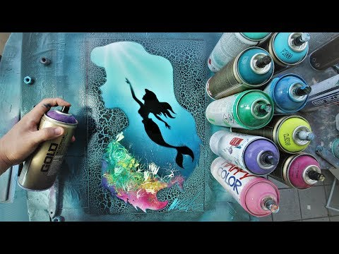 Ariel little Mermaid GLOW IN DARK - SPRAY PAINT ART - by Skech