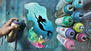 Ariel little Mermaid GLOW IN DARK - SPRAY PAINT ART - by Skech