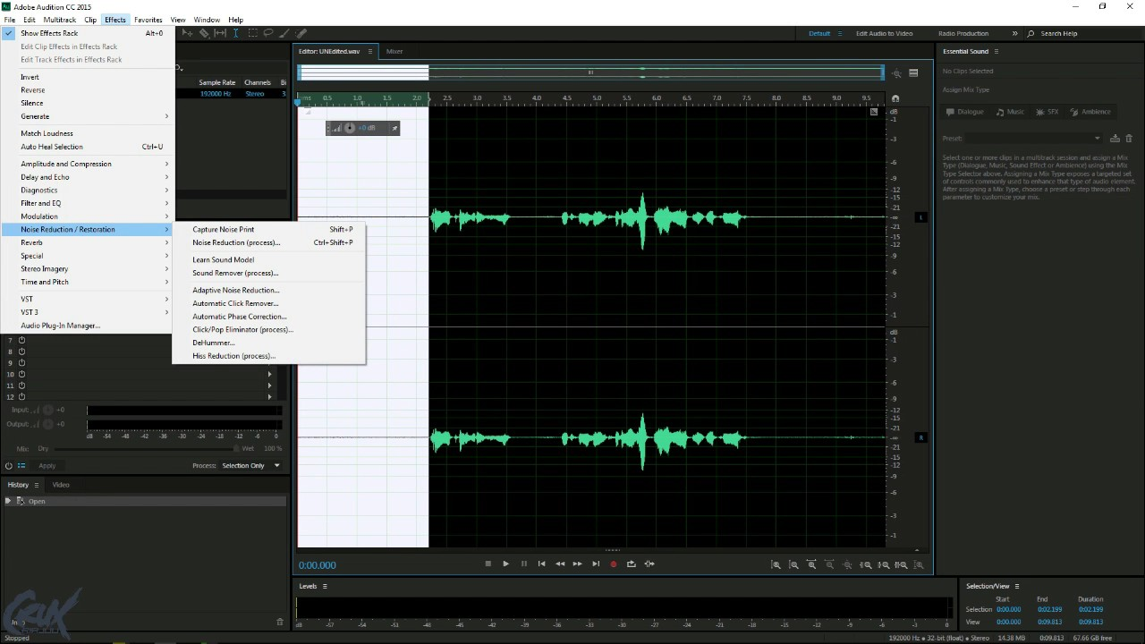 Adobe Audition - Remove Humming and Static