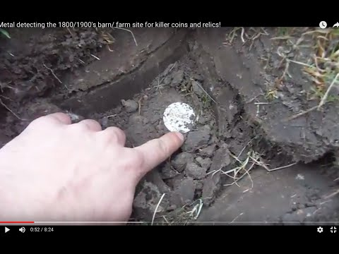Metal detecting the 1800/1900's barn/ farm site for old  coi