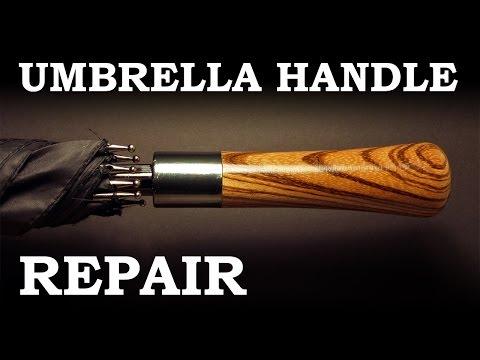 Repairing an umbrella - woodturning a handle