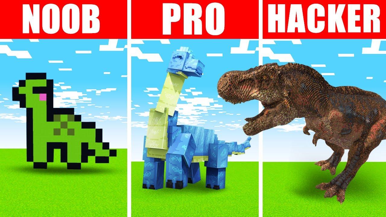 Minecraft NOOB vs. PRO vs. HACKER : DINOSAUR SURVIVAL CHALLENGE in Minecraft!