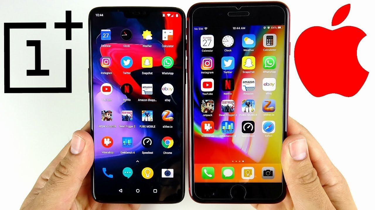 OnePlus 6 vs iPhone 8 Plus Speed Test!