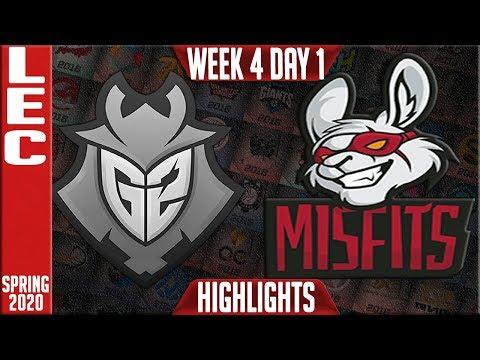 G2 Vs MSF Highlights   LEC Spring 2020 W4D1   G2 Esports Vs Misfits Gaming