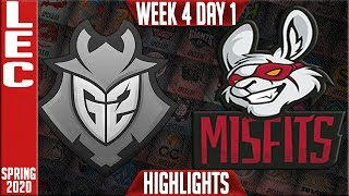 G2 vs MSF Highlights | LEC Spring 2020 W4D1 | G2 Esports vs Misfits Gaming