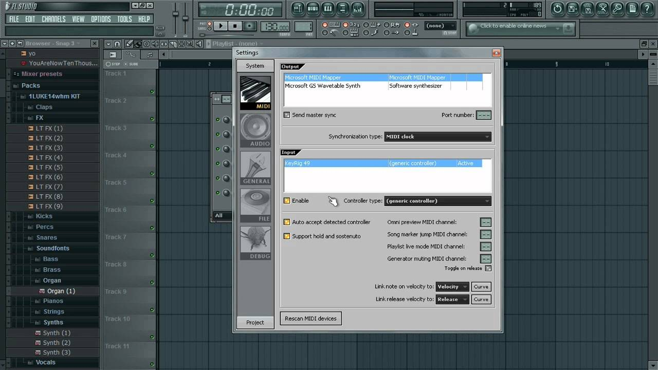 setting up midi keyboard fl studio 12