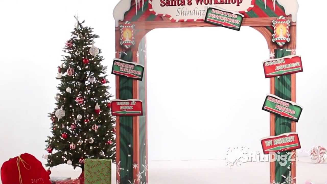 santas workshop personalized arch party supplies shindigz christmas decorations youtube