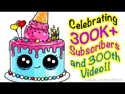 How to Draw a Cute Cake step by step Easy - Celebrating 300K+ Subscribers
