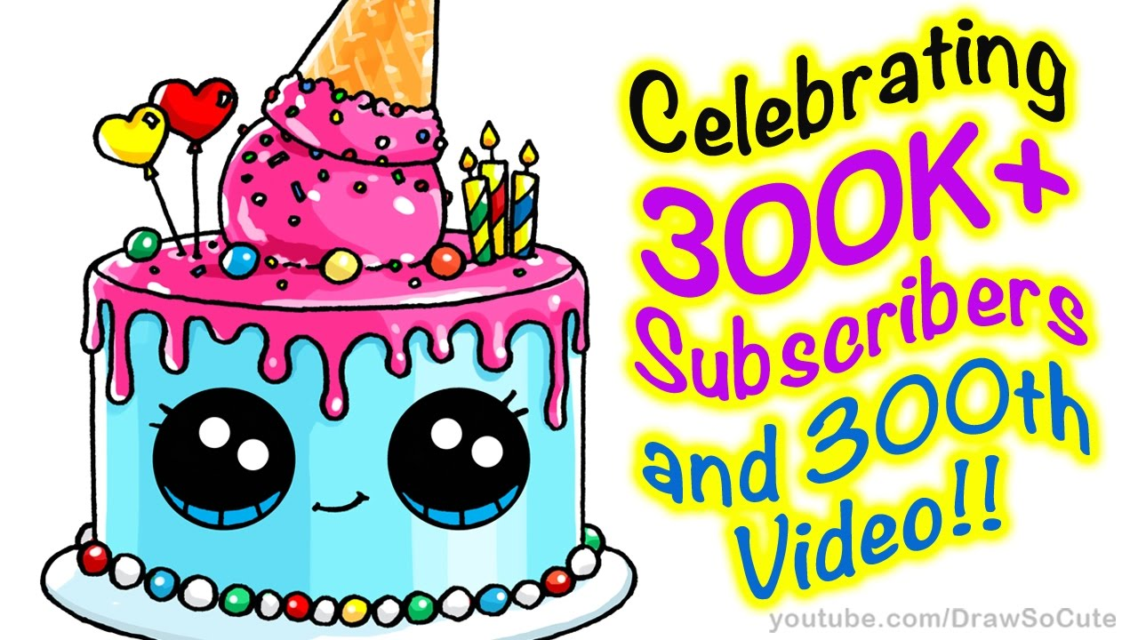 How to Draw a Cute Cake step by step Easy Celebrating 300K