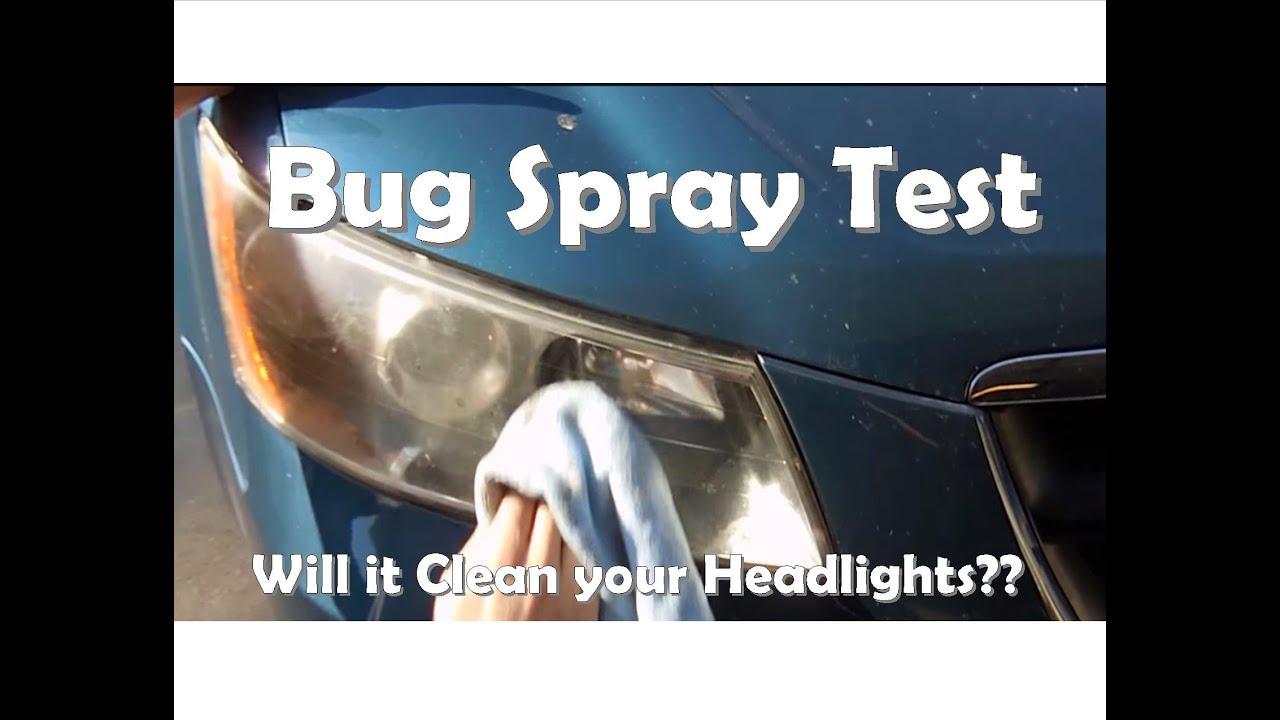 Clean headlights bug spray