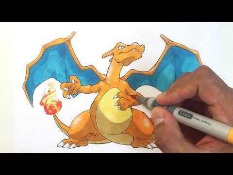 Pokémon Zeichnen 006 Glurak Youtube