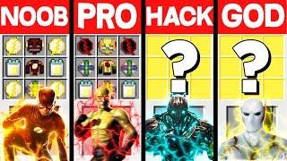 Minecraft Battle: THE FLASH SPEEDSTERS CRAFTING CHALLENGE - NOOB vs PRO vs HACKER vs GOD ~ Animation
