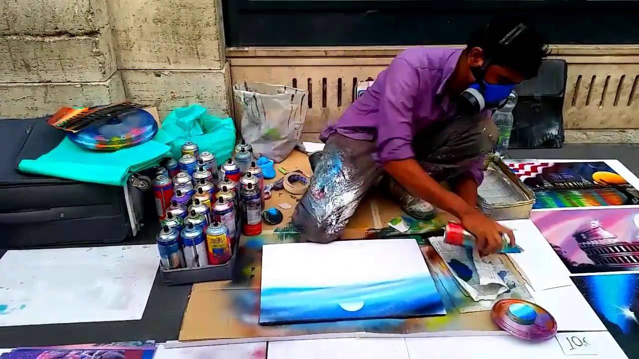Rome Italy - Spray Paint Street Artist