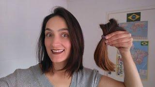Como cortar o cabelo sozinha (Corte Long Bob) Amei! Simples e Fácil.