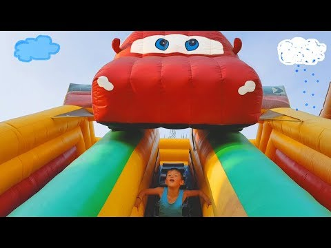 Thumbnail: Outdoor playground for kids with bounce toys. Kids playing video.