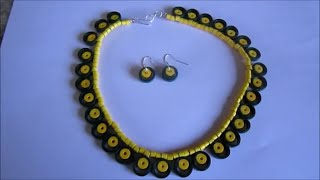 Handmade Jewelry - Paper Quilling Necklace and Earrings (Not Tutorial)