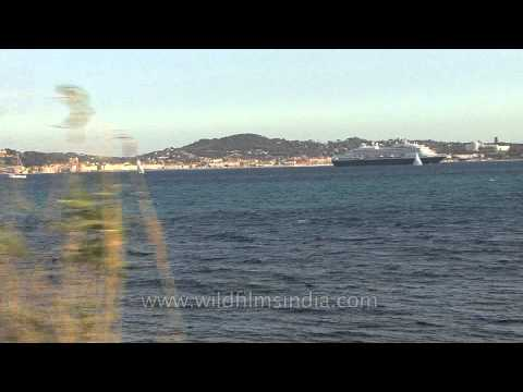 Cruise ship passes by St. Tropez
