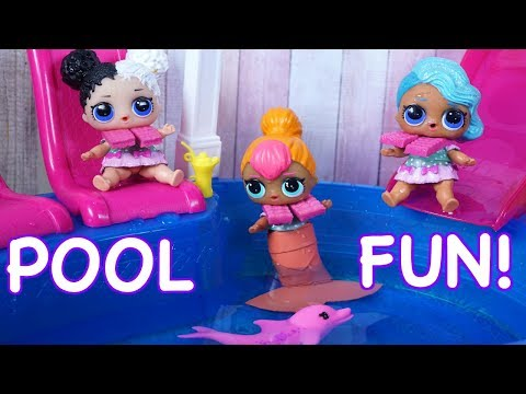 LOL SURPRISE DOLLS Find An AMAZING Babysitter & Go SWIMMING In Swimming Pool!