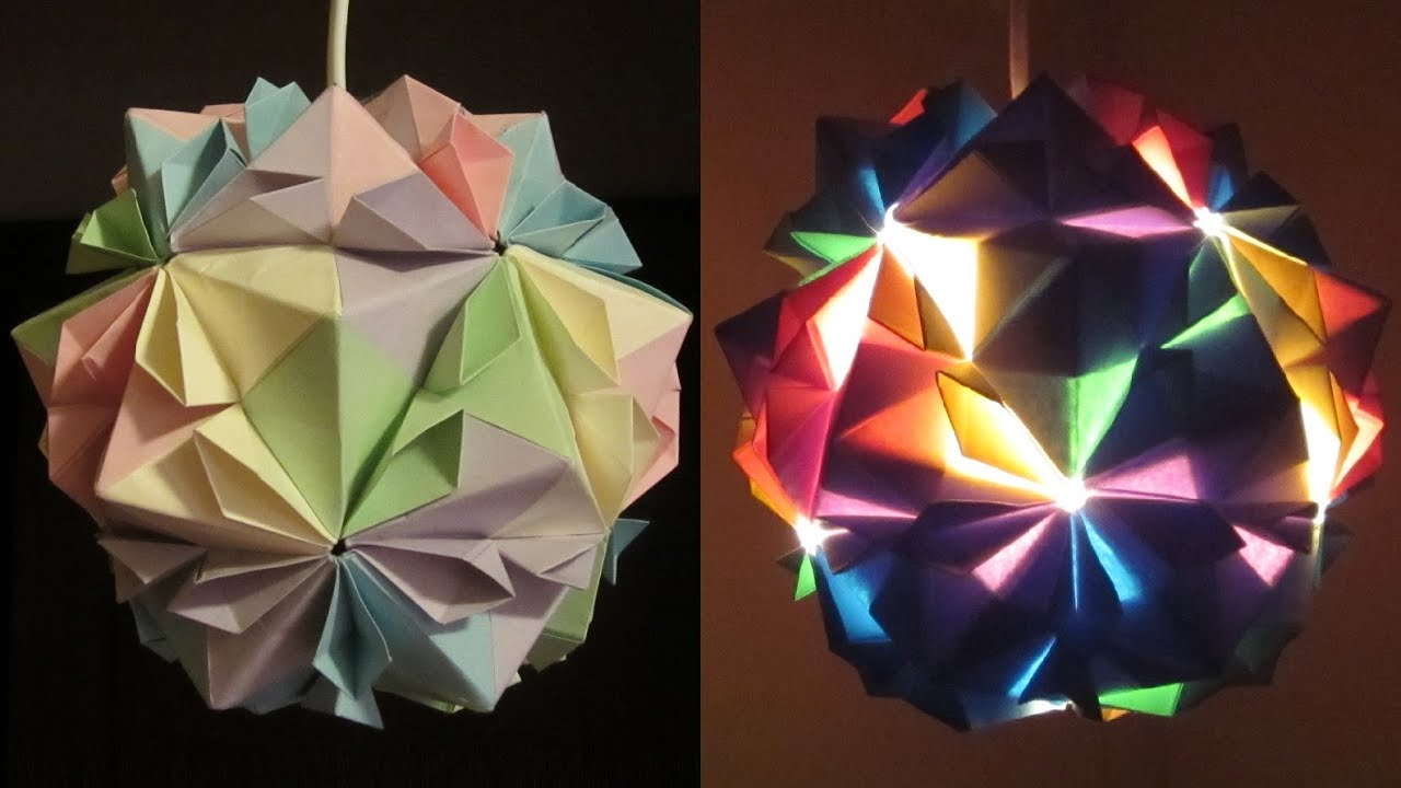 DIY Lamp (flower Ball)   Learn How To Make A Paper Lampshade/lantern By  Modular Origami  EzyCraft   YouTube