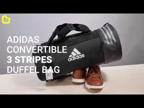 Adidas Convertible 3 Stripes Duffel Bag S - YouTube 9f76bf471f8ba